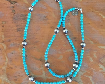 TN6 Kingman Turquoise and Sterling Silver Santa Fe Pearls Southwestern Native Style Pendant or Charm