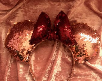 Deluxe Rose Gold and Burgundy Minnie mouse ears