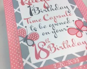 1st Birthday Time Capusule Keepsake box - Pink and Gray Butterflies