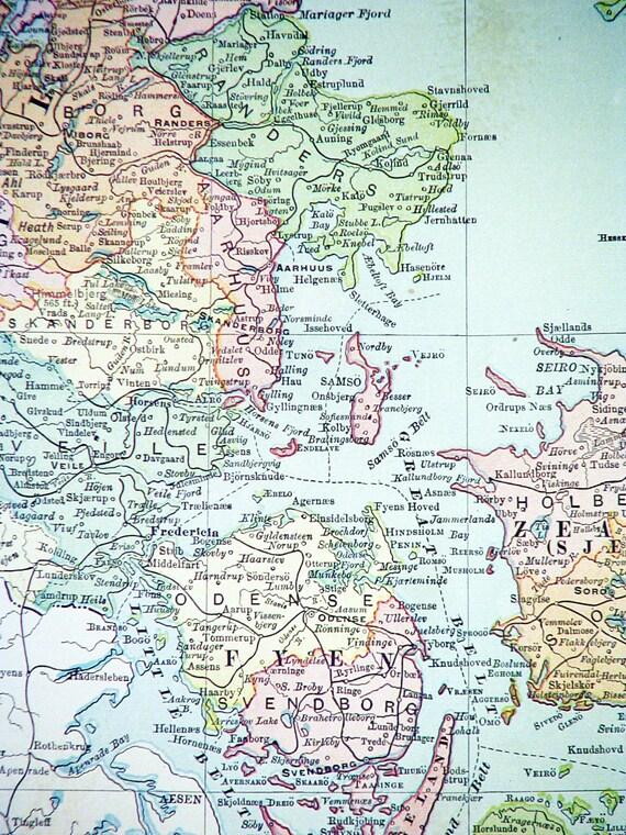 1900 Karte von Dänemark Rand McNally Original Farbe