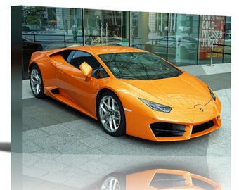 Lamborghini Huracan Orange Vehicle Art Print Wall Decor - Canvas Stretched Framed