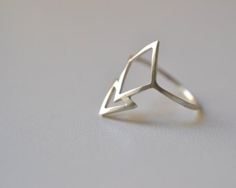 READY TO SHIP size 6. Inverted Mountain - silver triangle , geometric ring