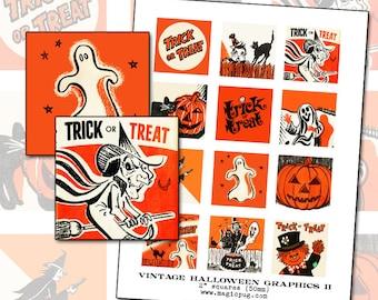 Vintage Halloween Graphics II digital collage sheet 2 inch square two 50mm for badge pinback button black orange cat witch jack o'lantern