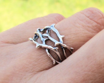 Thorn ring Unique ring jewelry Sterling silver ring Woven crown of thorns Tree branch ring for men and women jewelry handmade R-214234 DD