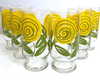 Vintage Yellow Floral Glass Set // 6 Vintage Drinking Glasses // 1980's