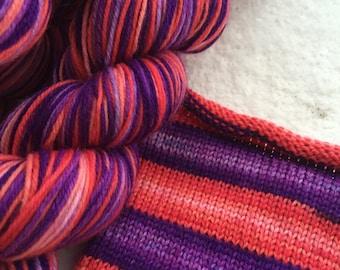 Hand dyed self striping merino sock yarn - Neon Nights