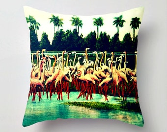Pink Flamingo Pillow Covers Flamingo Bedroom Ideas, Flamingo Bedroom Pillows, Coastal Pillows Pink Aqua Pillows, Flamingo Gifts Couch Pillow