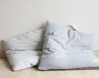 Linen Floor Cushion Striped