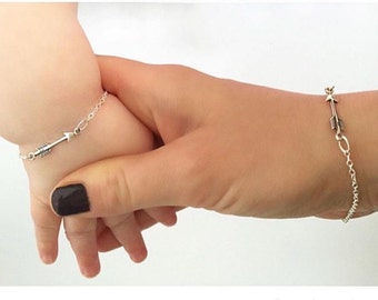 Arrow Bracelets, mommy and me, Sterling Silver Mother Daughter, mothers day mum Jewelry custom birthstones matching Gift For Mom. ARIA set
