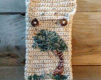 Crochet Bag with Hand-stitched Tree