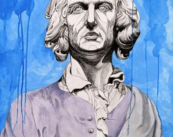LARGE GICLÉE print, Modern Art Print, Fine Art Print, Portrait, Historical Portrait, Colonial Portrait, Drip Painting, Blue Portrait