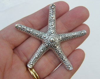 1 Starfish pendant antique silver tone FF227