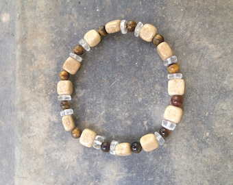 Riverstone Tiger's Eye Clear Quartz Positive Change+Protection Men's Stretch Bracelet•Clarity•Healing Crystals•Good Energy•Confidence•Focus