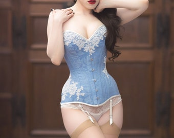 BESPOKE Pale Blue overbust corset with Ivory Lace appliqué