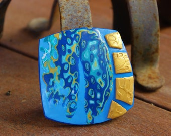 Modern blue gold pendant, Absrtact pendant, Polymer clay jewelry,  Art handmade necklace, Statement pendant necklace