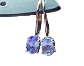 SALE Tanzanite 14k whit gold leverback earrings