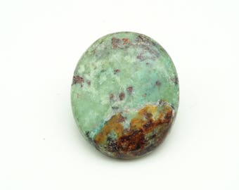 Emerald green chrysocolla cabochon - all natural oval stone cabochon - natural chrysocolla - 17mm x 20mm x 3mm