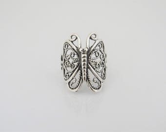 Vintage Sterling Silver Butterfly Filigree Ring Size 8