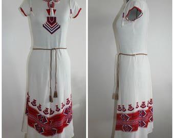 Vintage 1970s Dress Women, 70s Dress, Hippie Dress, Boho, Aztec print Dress, Betty Barclay, Small, Cotton, 1970s Dress,