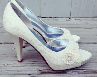 French Pleat Bridal Open Toe Platform Heel Wedding Shoes