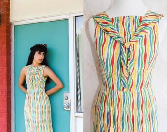 Vintage 50s Sailor Dress, 1950s Rainbow Stripe Dress, Nautical, Bow, Novelty Print, Sleeveless, Metal Zipper