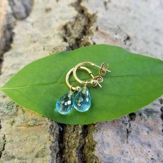 Modern estate 14k gold pierce hoop earrings with removable blue topaz briolette drops
