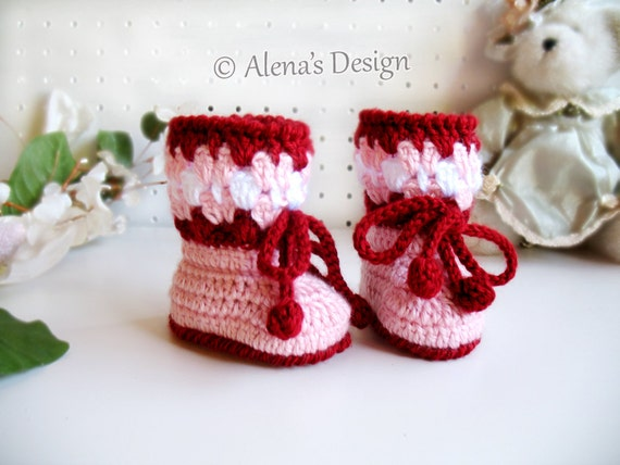 CROCHET PATTERN Blossom Baby Booties Cherries Crochet Booties with Flower Pink Red Slippers Baby Girl Baby Shower Gift Christmas Baby