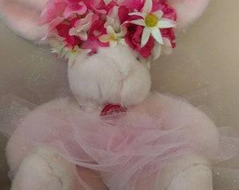 """Too Big TuTu Easter Bunny Ballerina Princess  with silk flower tiara Small 12"""""""