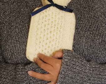 Mini Hot Water Bottle Cover - hand-knitted in cream, cosy, woolly, soft and cuddly