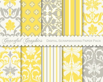 Scrapbook Paper Pack Digital Scrapbooking Background Papers 10 Sheets 8.5 x 11 Sunshine YELLOW White GREY Old Leaf Flower DAMASK 1836gg