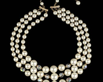 Three Strand Faux Pearl Necklace with Aurora Borealis Beads | Vintage 1960s Choker