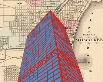 Milwaukee Wisconsin U.S. Bank Center with map background 8 x 10 Print