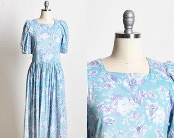 Floral dress, Midi dress, Cotton dress, Short sleeve dress,  fit and flare dress, turquoise dress, summer dress, spring dress, holiday dress