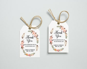 Thank You Tag, Wedding Thank You Tags, Gift Tags, Wedding Favor, Thank You Printable, Wedding Printable, Floral blush Tag, Katie collection