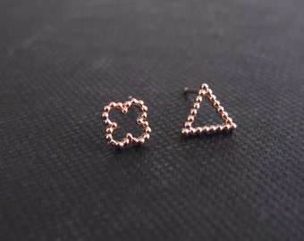 solid rose gold earrings, gold earrings, small stud earrings, rose gold studs, solid gold , tiny studs, filigree earrings, everyday earrings