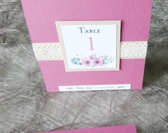 Nom de table et menu mariage - 2 en 1 - Mariage Champêtre chic - Mariage romantique - Nature Chic - Couleurs modulables - Papeterie KlrKrea