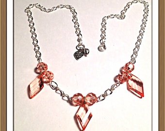 Handmade MWL pink and silver becklace. 0286