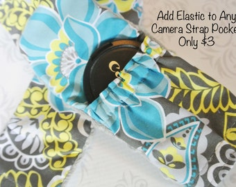 ADD ON ONLY - Elastic to Camera Strap Pocket - 72 or 80mm Lens Caps