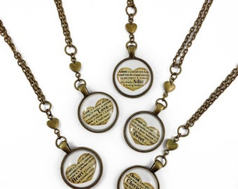 Love, Cherish, Adore, Precious, Sweet, Heart //antique brass necklace // vintage inspired // handmade // ready to ship
