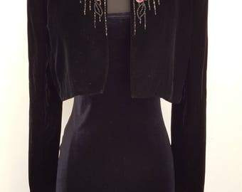 Vintage Victor Costa Sequence and Beaded Black Velvet Cropped Jacket