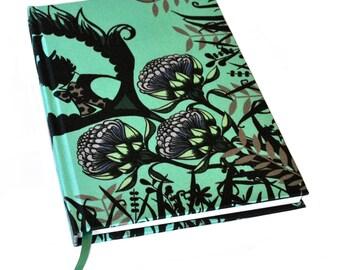A5 Silk Notebook / Silk Journal / Alice in Wonderland Notebook / Mothers Day Gift / Green Notebook / Green Journal / Proteas Notebook