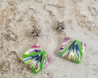 Abstract Design Flower earrings, Square Dangle earrings, Polymer Clay earrings, Women's earrings, gifts under 15, gift ideas