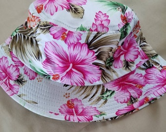 White floral women's bucket style hat, Bucket hat, White floral hat, Women's bucket hat, Floral bucket hat, White bucket hat, Floral hat