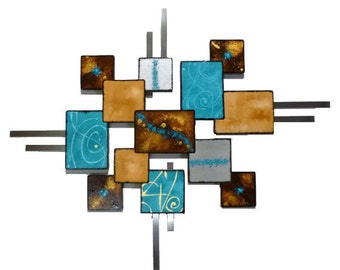 """Unique Turquoise & Brown Textured Geometric Wooden Abstract Wall Sculpture """"Laguna Square"""" 37x30 - Wall Deor, Wall hanging, original art"""