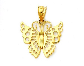 14Kt Yellow Polished Gold Butterfly Pendant, butterfly charm, gold butterfly, butterfly, butterfly jewelry