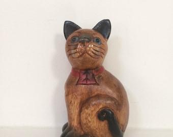 Small Wooden Cat Sculpture
