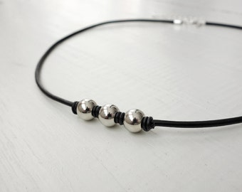 Black leather necklace metal beads necklace black cord necklace unisex necklace for men for women