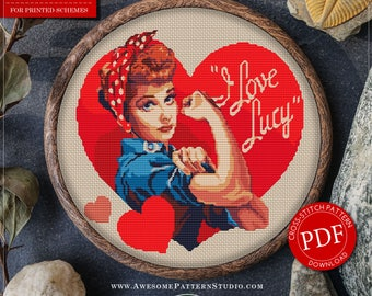 Modern Cross Stitch Pattern of I Love Lucy for Instant Download *P037 | Easy Cross Stitch| Counted Cross Stitch|Embroidery Design