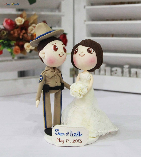 Wedding Cake Topper Chp Officer Groom And Beautiful Bride Clay