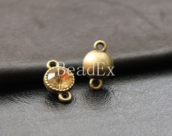 4 pcs / Link /  Link with Champagne Rhinestone / Antique Brass / Base Metal  (YB12388//D92)